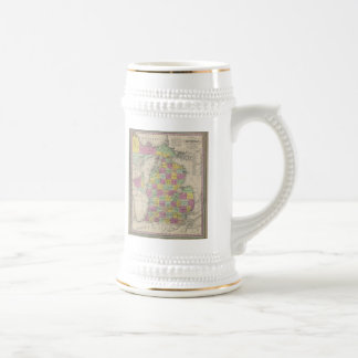 Vintage Map of Michigan (1853) Beer Stein