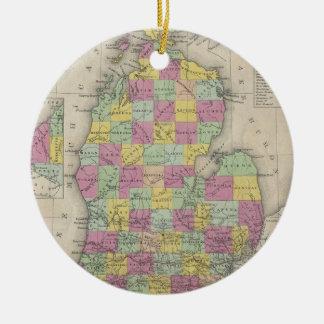 Vintage Map of Michigan (1853) Ceramic Ornament
