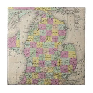 Vintage Map of Michigan (1853) Ceramic Tile
