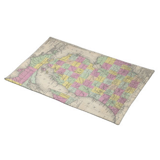 Vintage Map of Michigan (1853) Cloth Placemat