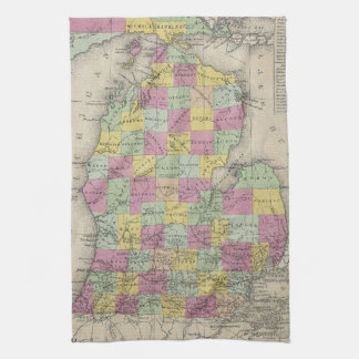 Vintage Map of Michigan (1853) Hand Towel