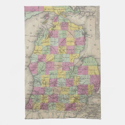 Vintage Map of Michigan 1853 Hand Towel Zazzle