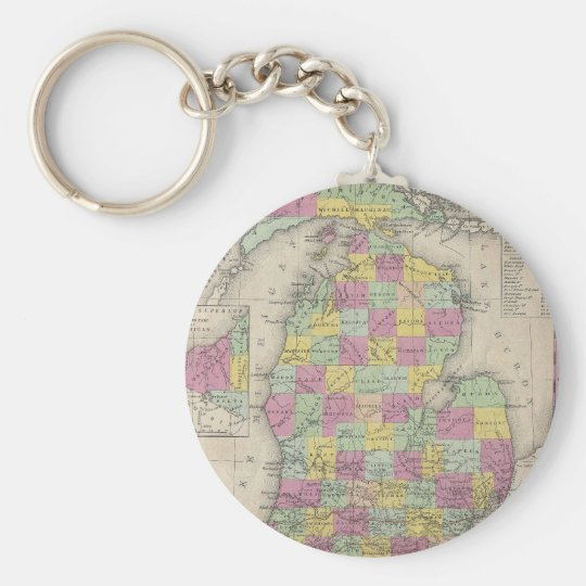 Vintage Map of Michigan (1853) Keychain