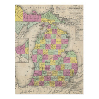 Vintage Map of Michigan (1853) Post Card