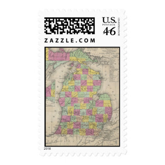 Vintage Map of Michigan 1853 Postage