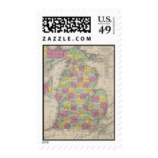 Vintage Map of Michigan (1853) Postage