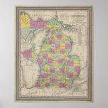 Vintage Map of Michigan (1853) Print