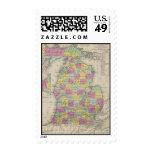 Vintage Map of Michigan (1853) Stamp