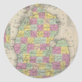 Vintage Map of Michigan (1853) Stickers