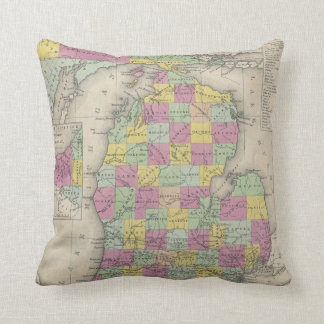 Vintage Map of Michigan (1853) Throw Pillow
