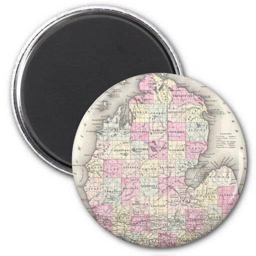 Vintage Map of Michigan (1855) 2 Inch Round Magnet