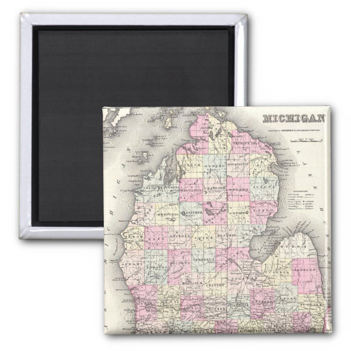 Vintage Map of Michigan (1855) 2 Inch Square Magnet