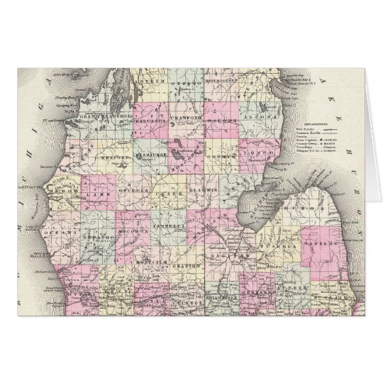 Vintage Map of Michigan (1855) Card