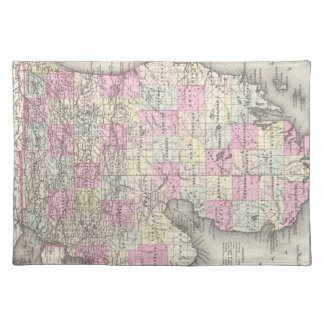 Vintage Map of Michigan (1855) Cloth Placemat