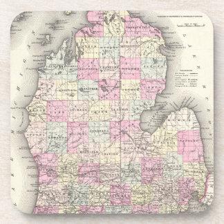 Vintage Map of Michigan (1855) Drink Coaster