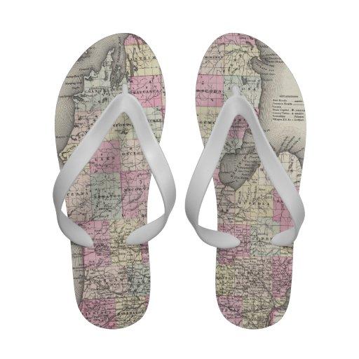 Vintage Map of Michigan (1855) Sandals