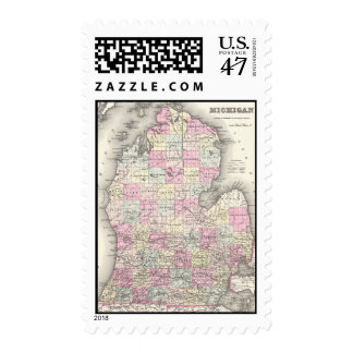 Vintage Map of Michigan (1855) Postage