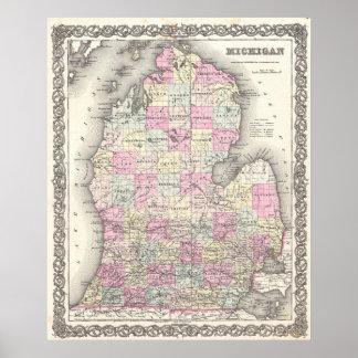 Vintage Map of Michigan (1855) Poster