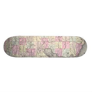 Vintage Map of Michigan 1855 Custom Skate Board