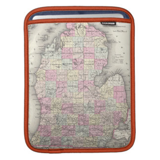 Vintage Map of Michigan (1855) Sleeve For iPads