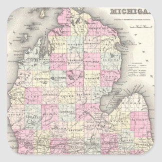 Vintage Map of Michigan (1855) Square Sticker