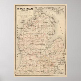 Vintage Map of Michigan (1873) 2 Poster