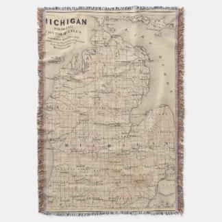 Vintage Map of Michigan (1873) 2 Throw Blanket
