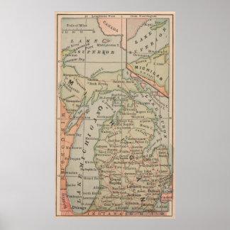 Vintage Map of Michigan (1885) Poster