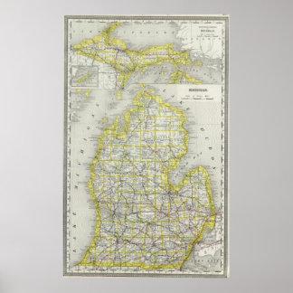 Vintage Map of Michigan (1889) Poster