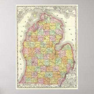 Vintage Map of Michigan (1897) Poster