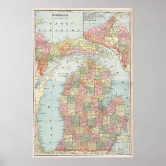 Vintage Map of Michigan (1901) 2 Poster