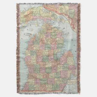 Vintage Map of Michigan (1901) 2 Throw Blanket