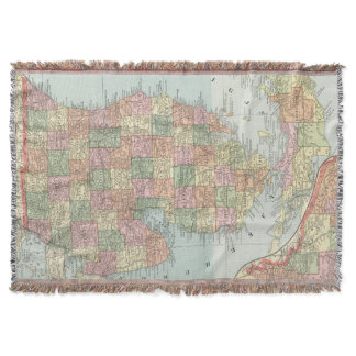 Vintage Map of Michigan (1901) 2 Throw Blanket