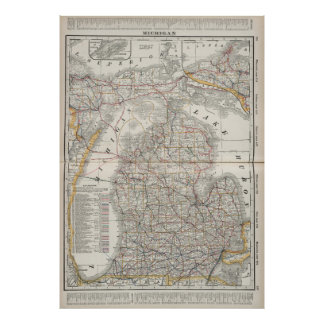 Vintage Map of Michigan (1901) 3 Poster