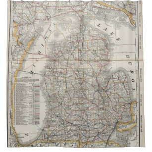 Vintage Map Of Michigan 1901 3 Shower Curtain