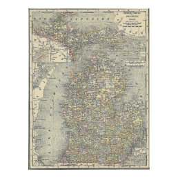Vintage Map of Michigan (1901) Poster