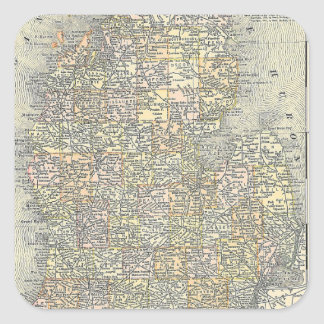 Vintage Map of Michigan (1901) Square Stickers