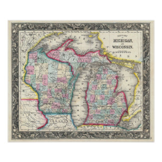 Vintage Map of Michigan and Wisconsin (1860) Poster