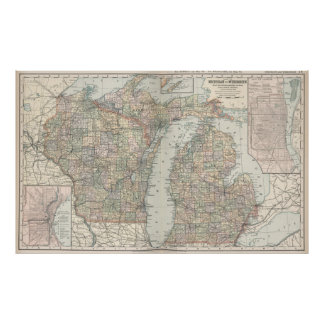 Vintage Map of Michigan and Wisconsin (1891) Poster
