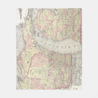 Vintage Map of Michigan & Wisconsin (1862) Fleece Blanket