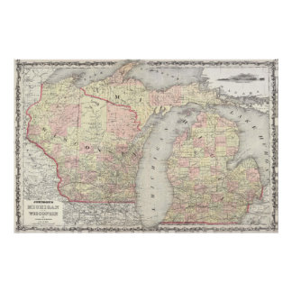 Vintage Map of Michigan & Wisconsin (1862) Poster