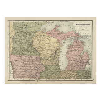 Vintage Map of Mid Western States, 1837. Poster
