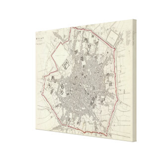 Vintage Map of Milan Italy (1832) Canvas Print