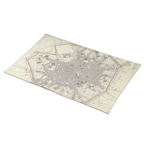 Vintage Map of Milan Italy (1832) Cloth Place Mat