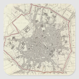 Vintage Map of Milan Italy (1832) Square Sticker