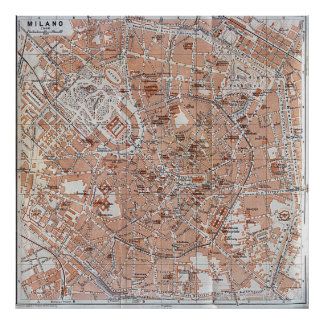Vintage Map of Milan Italy (1913) Poster