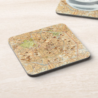 Vintage Map of Milan Italy (1914) Drink Coaster