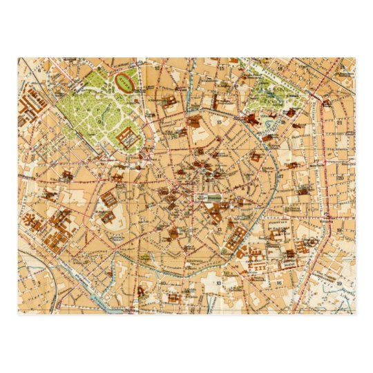 Vintage Map of Milan Italy (1914) Postcard | Zazzle.com