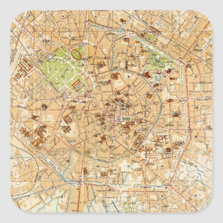 Vintage Map of Milan Italy (1914) Square Sticker