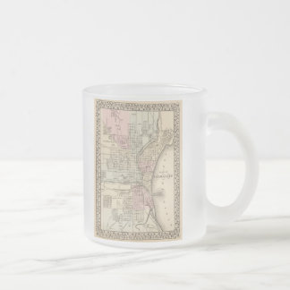 Vintage Map of Milwaukee (1880) 10 Oz Frosted Glass Coffee Mug